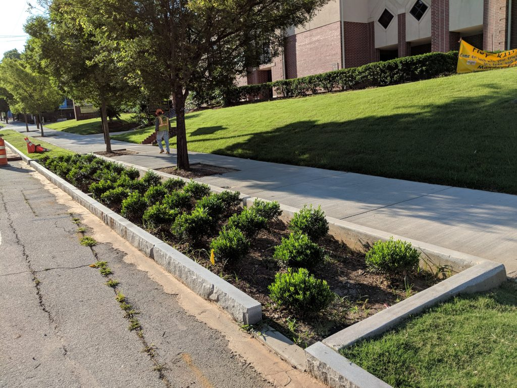New planters along Boone Boulevard